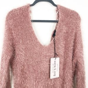 NWT Lilac Dream Pink Eyelash Twist Back Sweater M